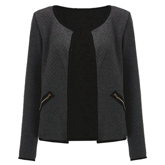 Women Jacket 2017 Spring Autumn Women Basic Jacket Long Sleeve Pockets Slim Short Cardigan Coat Casual Outwear plus size s-4xml