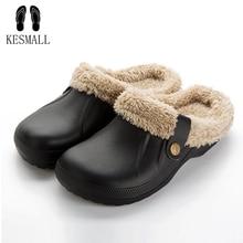 KESMALL Winter Warm Slippers Indoor Soft Shoes Casual Crocus Clogs With Fur Fleece Lining Home Floor Women's Sandals Slipper