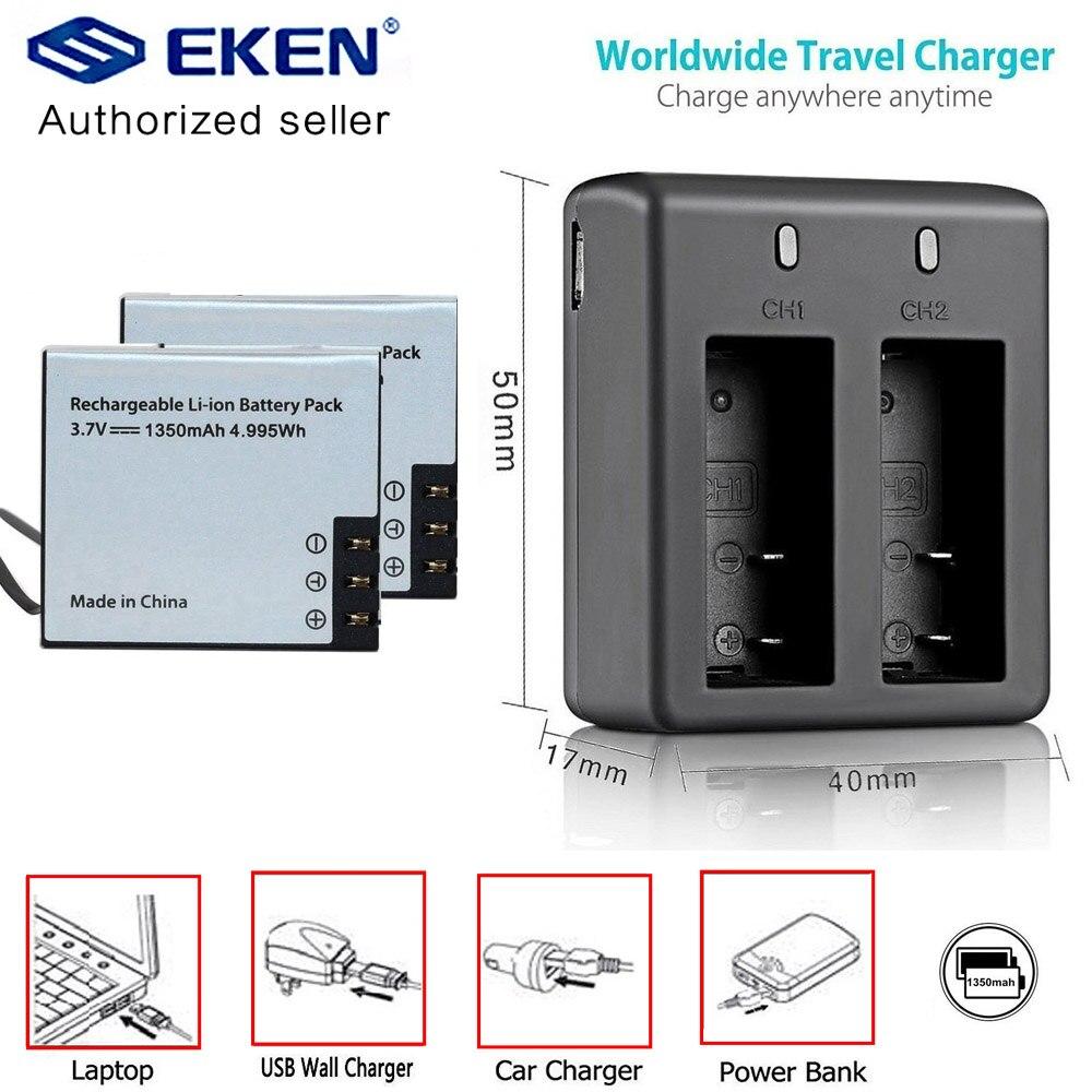 2 шт. eken 1350 мА/ч, Батарея с Батарея Зарядное устройство для eken H9 h9r плюс H5s плюс h6s H7 SJ4000 Sj5000 M10 SJ7000 SooCoo c30 C50 f68