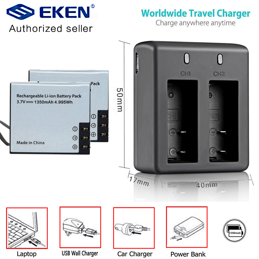 2PCS EKEN 1350mAh Battery With Battery Charger For EKEN H9 H9r Plus H5s Plus H6s H7 SJ4000 Sj5000 M10 SJ7000 SooCoo C30 C50 F68
