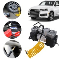 Low Noise 12v Air Compressor Cars Tyre Stainless Steel Double Cylinder Inflator High Power Vehicles Tyre Inflation Pump