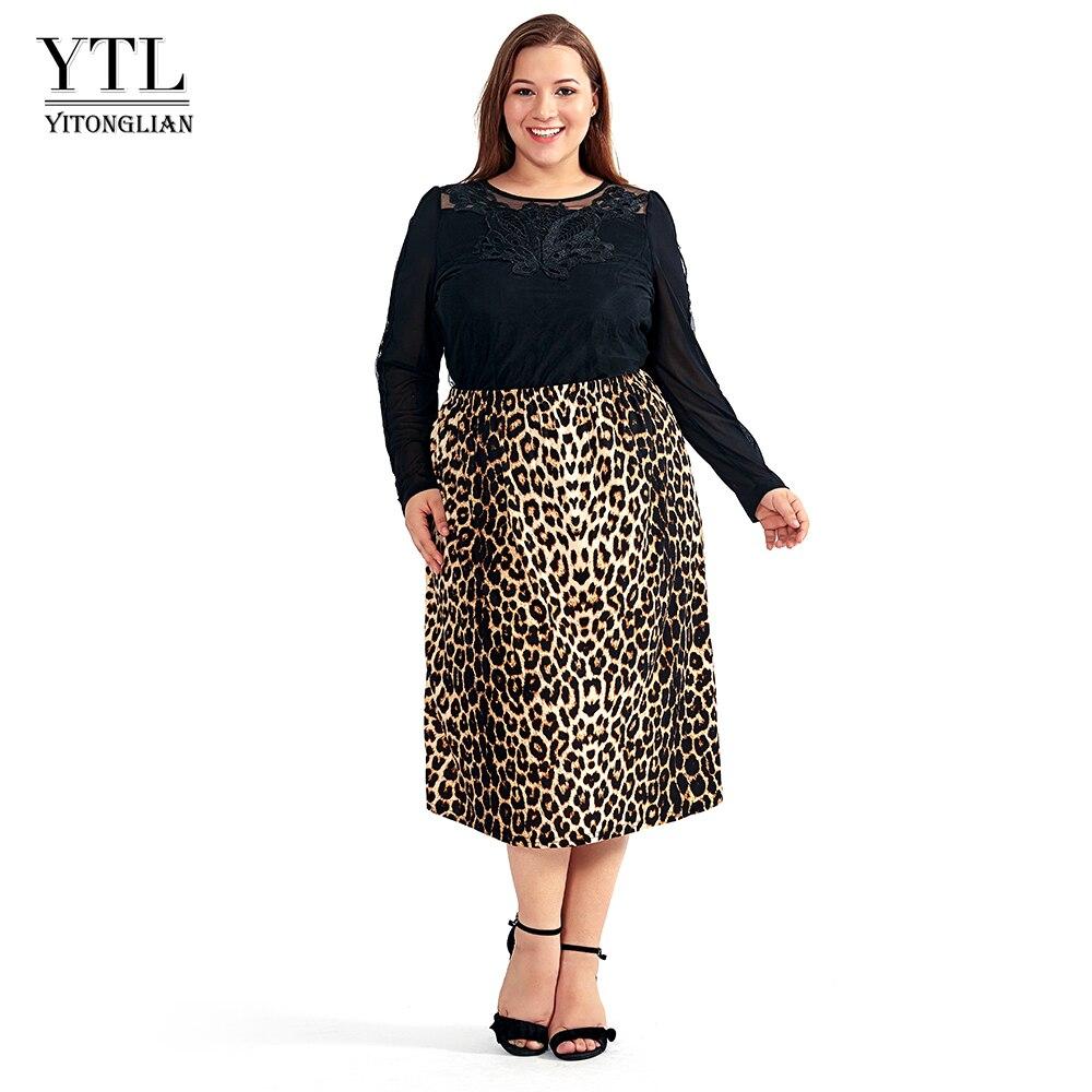 Vintage Plus Size Skirts For Women 4XL 5XL 6XL 8XL Leopard Print Comfortable Casual High Waist Straight Stretch Long Skirt H123