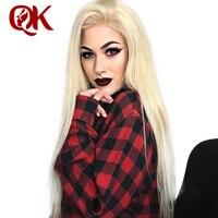 QueenKing волос Синтетические волосы на кружеве парик 180% Плотность Blonde 613 шелковистая прямая предварительно выщипать волосяного покрова 100% бра