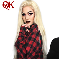 QueenKing hair Lace Front Wig 180% Density Blonde 613 Silky Straight Preplucked Hairline 100% Brazilian Human Remy Hair