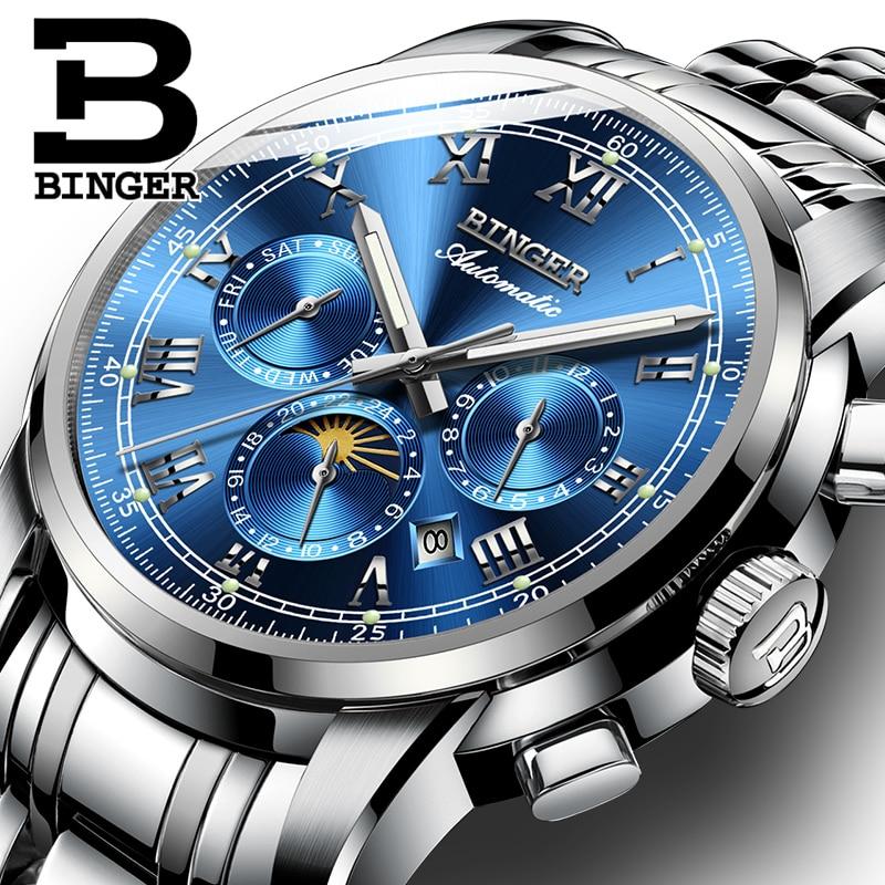 스위스 자동 기계식 시계 남자 binger 럭셔리 브랜드 남자 시계 사파이어 시계 방수 relogio masculino B1178 5-에서기계식 시계부터 시계 의  그룹 1