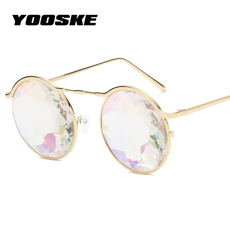 04e02f94f95c YOOSKE Metal Kaleidoscope Glasses Women 2018 Retro Round rave festival  Sunglasses Men Gothic Steampunk Eyewear Cosplay goggles-in Sunglasses from  Women s ...