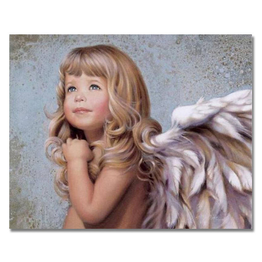 WEEN Angel Girl DIY Painting By Numbers Canvas Painting Kids Wall Art Oil Picture Coloring By Numbers For Home Decor 40x50cm