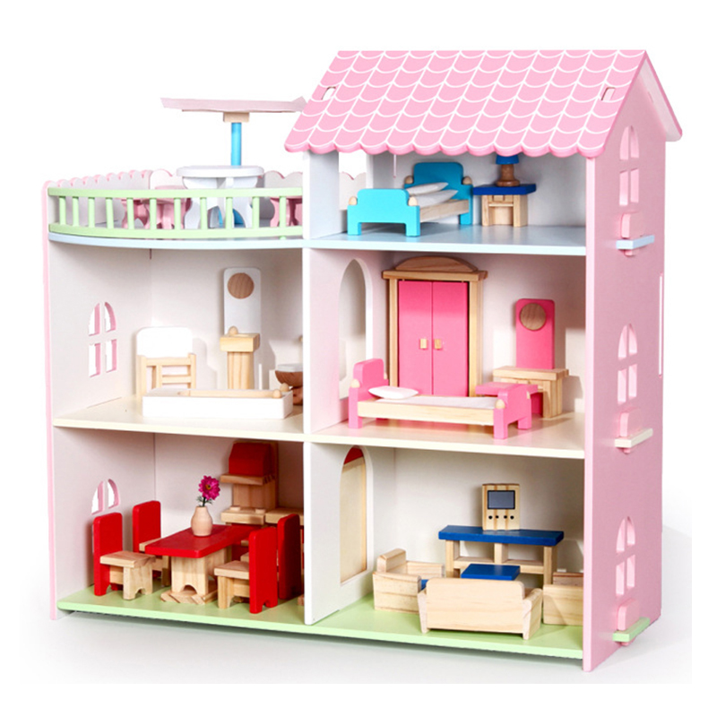 цена на CUTEBEE Pretend Play Furniture Toys Wooden Dollhouse Furniture Miniature Toy Set Doll House Toys for Children Kids Toy House