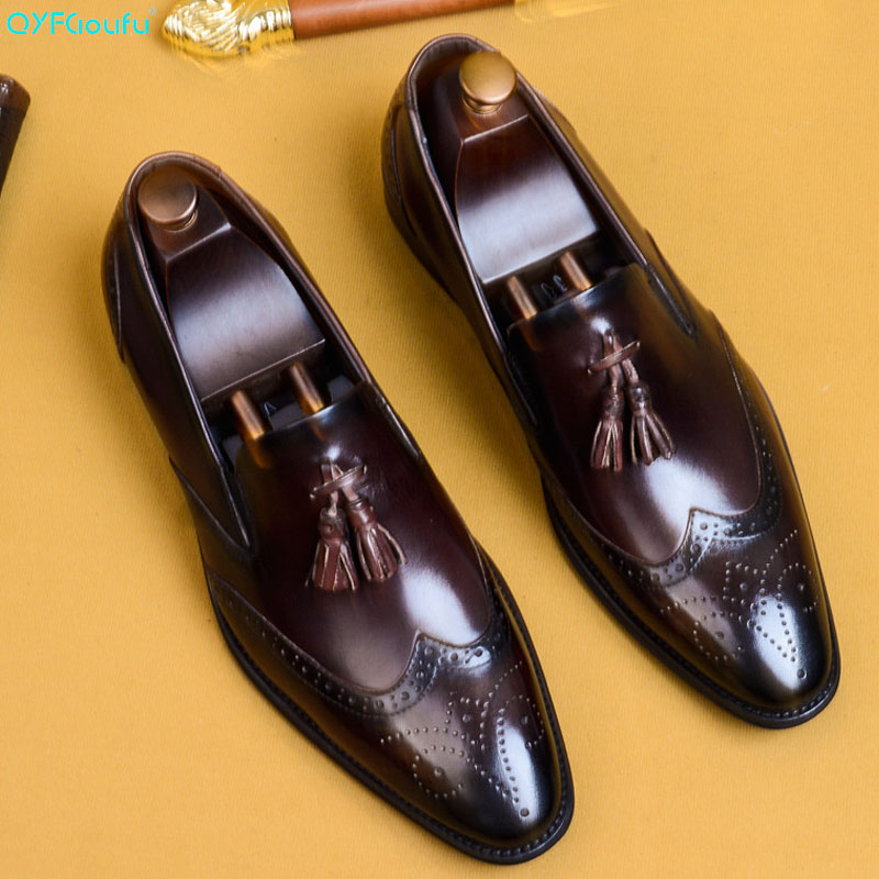 QYFCIOUFU Formal Brogue Shoes Men Classic Tassel Men Shoes Genuine Leather Slip On Office Shoes Men Elegant Luxury Dress US 11.5QYFCIOUFU Formal Brogue Shoes Men Classic Tassel Men Shoes Genuine Leather Slip On Office Shoes Men Elegant Luxury Dress US 11.5
