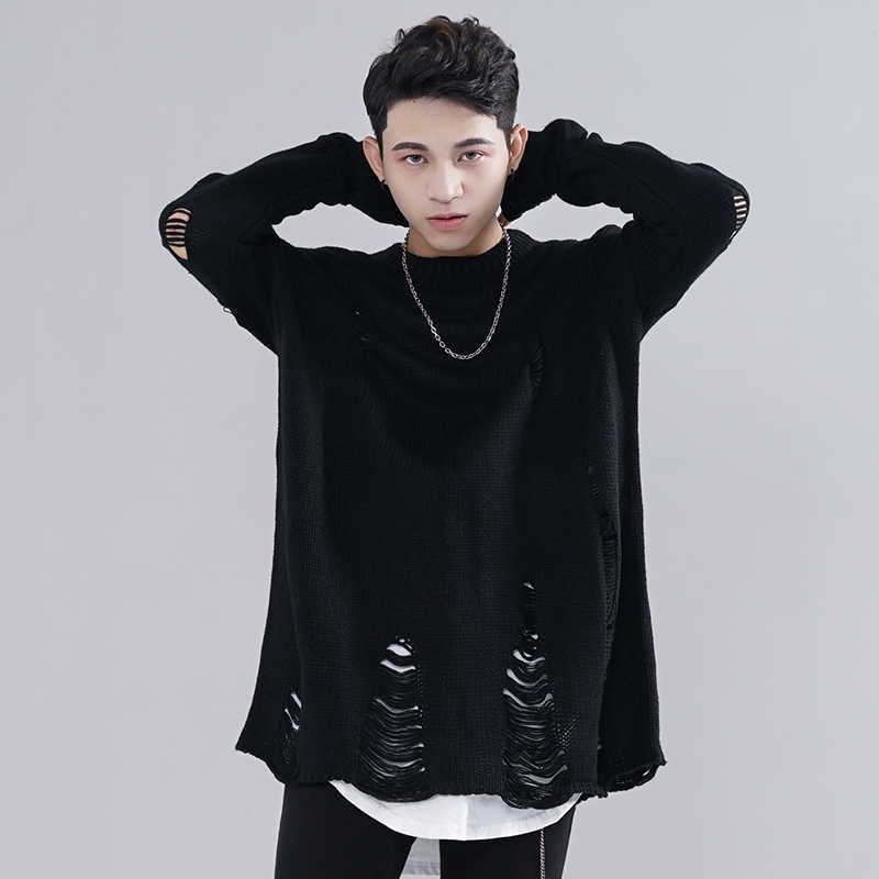 Korean Clothes New Men Autumn Ripped Holes Sweater Vintage Oversized Loose Streetwear Warm Wool Black Pullover Sweater