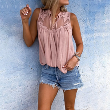 Casual Shirt Fashion Womens Tops And Blouses Sleeveless Lace