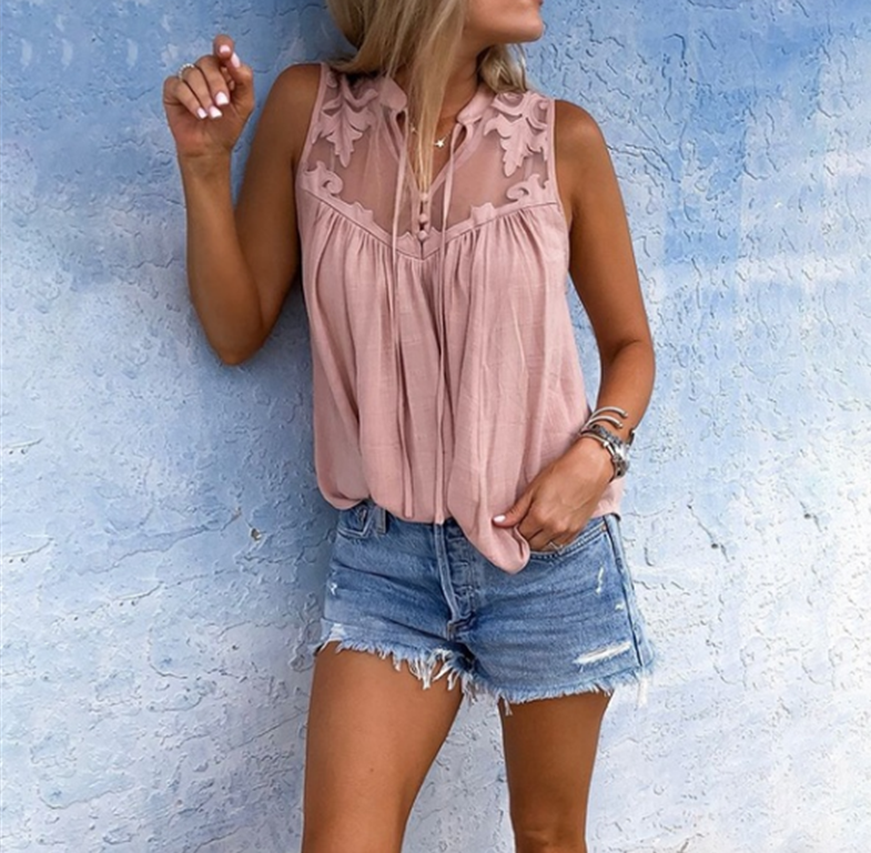Casual   Shirt   Fashion Womens Tops And   Blouses   Sleeveless Lace Patchwork   Blouses   Woman 2019 Loose Lady Tops Blusa Feminina SJ1914M