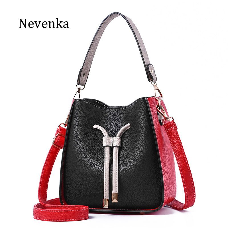 Nevenka Fashion Brand Women Quality Leather Shoulder Bag Female Patchwork Hasp Ribbons Bucket Handbag Lady Casual Tote 2017 New new 2017 fashion leather lady patchwork natural sheepskin shoulder bag famous brand women s bag casual bag