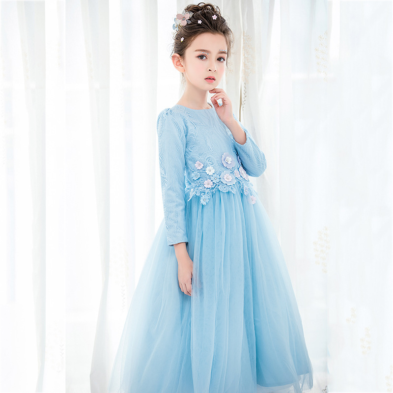 Sweet Sky Blue Floral Beading Lace A-line   Flower     Girl     Dresses   For Wedding   Girls   First Communion Gowns Special Occasion   Dresses