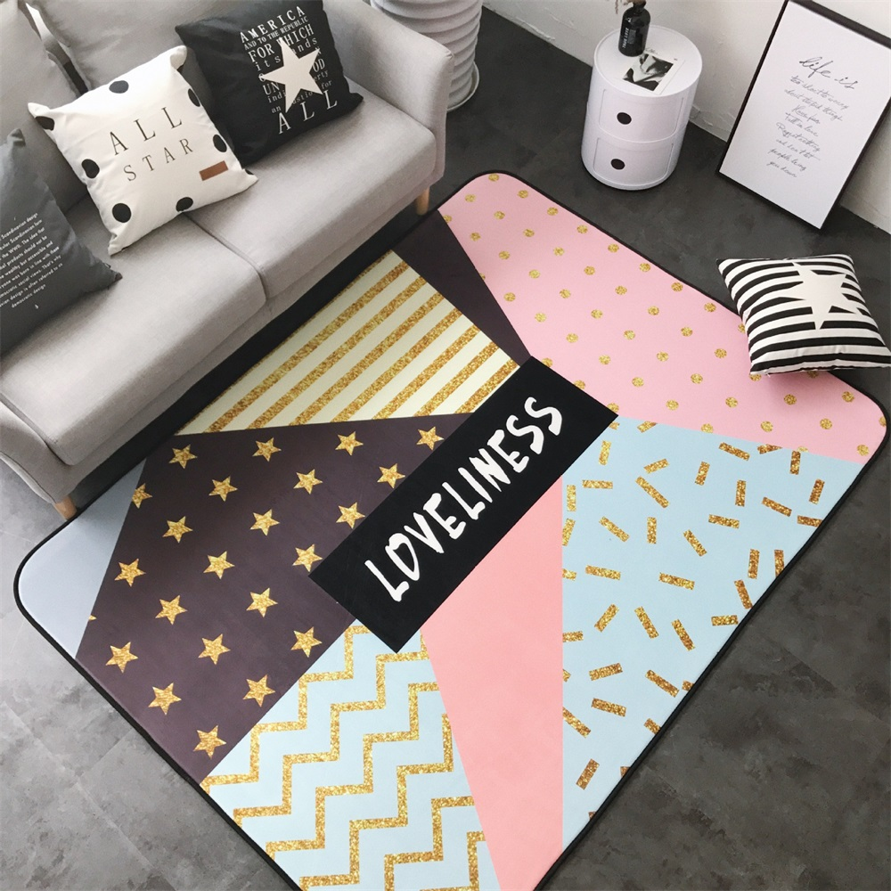 Fashion Chic Patching Geometric Living Room Bedroom Decorative Carpet Area Rug Bathroom Floor Door Yoga Baby Play Game Mat