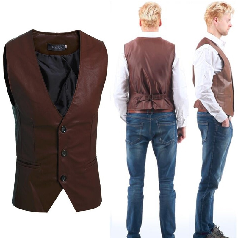 Zogaa New Arrival Leather Motorcycle Snap Buttons Shiny Vest Mens Slim Fit Sleeveless Autumn Winter Vintage Stylish Waistcoat