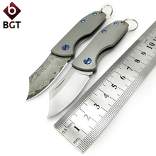 BGT Small Pocket Knife Camping EDC Hunting Key Chain Folding Knives Survival Utility Tools Titanium Handle D2 / VG10 Steel Blade цена