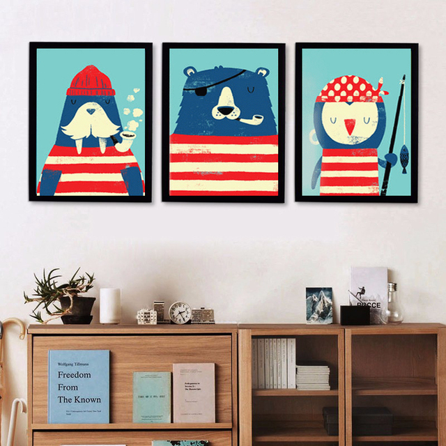 Three Animals Sea Lion Bear And Penguin Pirate Theme Painting