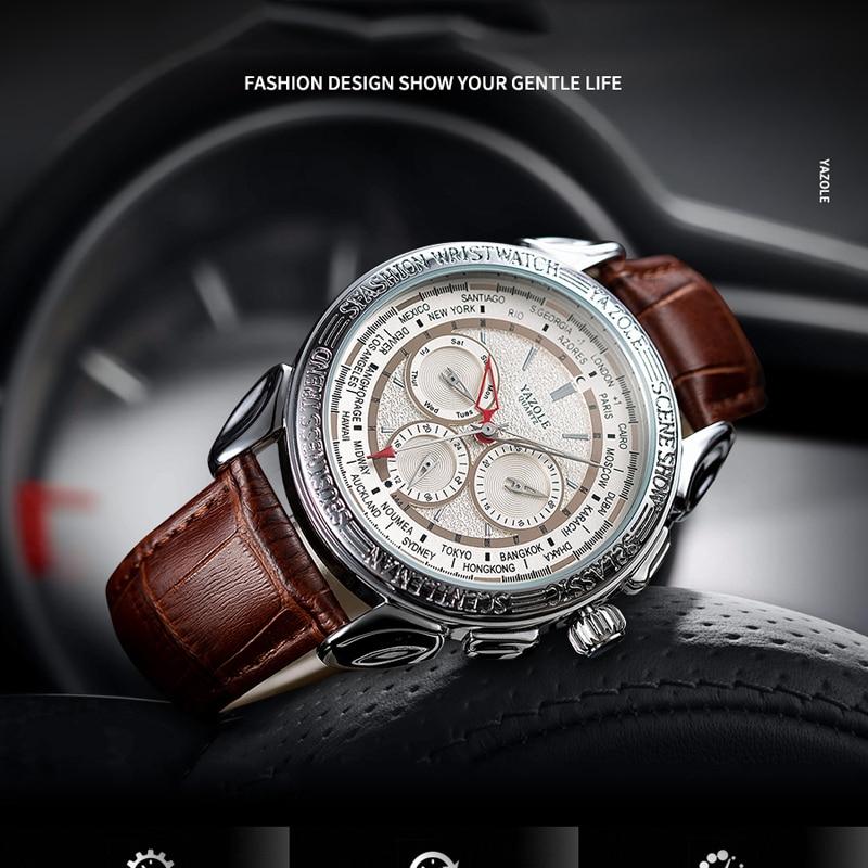 Montre Homme Yazole Fashion Mens Watches Top Brand Luxury Leather Waterproof Quartz Wrist Watch Retro Date Watch For Men Reloj #