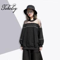 2018 נשים אופנה סגנון חדש אביב Toheliy תפירת צוואר עגול שקוף כתף חוט נקי שרוול ארוך חולצת טריקו