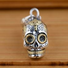 925 Sterling Silver Skull Pendant Thai Silver Antique Style Cool Personality Gothic Skeleton Pendants for Women