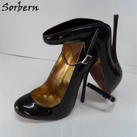 Sorbern 10Cm 12Cm 14Cm Thin Metal High Heels Women Pumps Ankle Straps Round Toe Sexy Stilettos Night Club Party Shoes Size 34 52