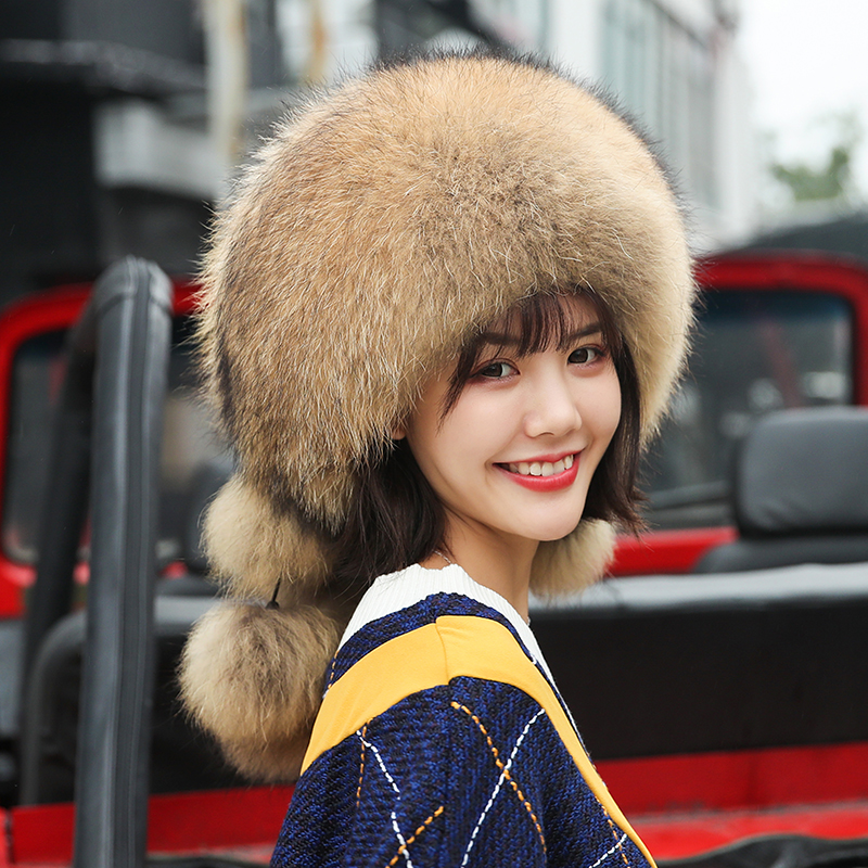 Natural Fox Fur Bomber Cap five fox ball Top Hats Real Fox Fur with Pompoms Traper Caps Hat Newest 2019 Hats for Women Winter
