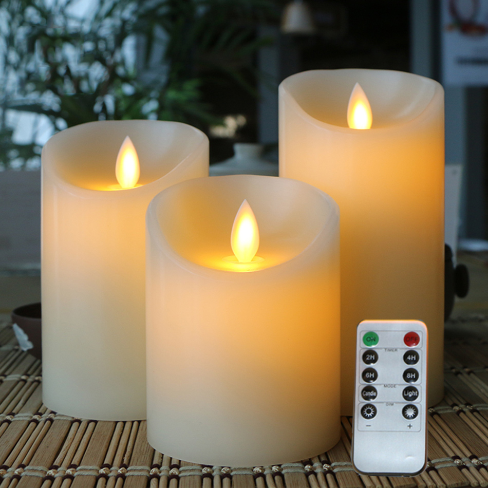 flameless LED electronic candle, made by real wax and flicker light, remote control with timer,dimmer,on/off function,3pc 1 set