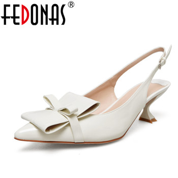 FEDONAS 2020 Women Bowknot Sandals Gladiator Genuine Leather High Heels Summer Fashion Pointed Toe Wedding Party Shoes Woman