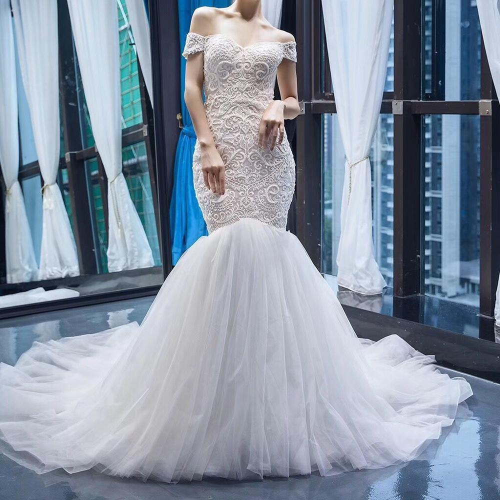 Off The Shoulder Wedding Dress with Appliques Mermaid Lace up Court Train Bridal Gown vestito sposa