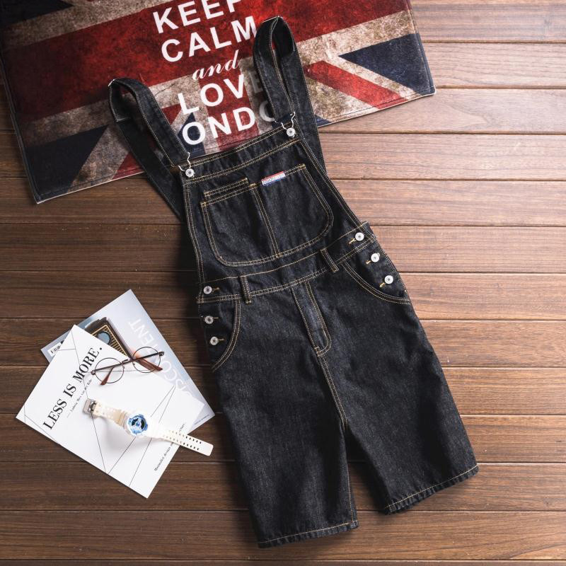 New Fashion Casual Slim Black Denim Overalls Men Cargo Pants Male Jeans Jumpsuits Summer Sexy Short Denim Trousers