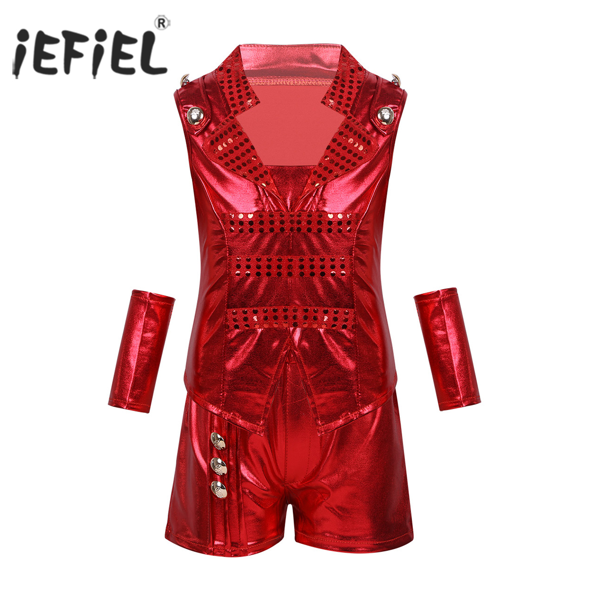 iEFiEL Unisex Kids Boys Girls Jazz Dance Costume Outfit Clothing Shiny Metallic Top Vest with Shorts Wrist Sleeves Dancewear