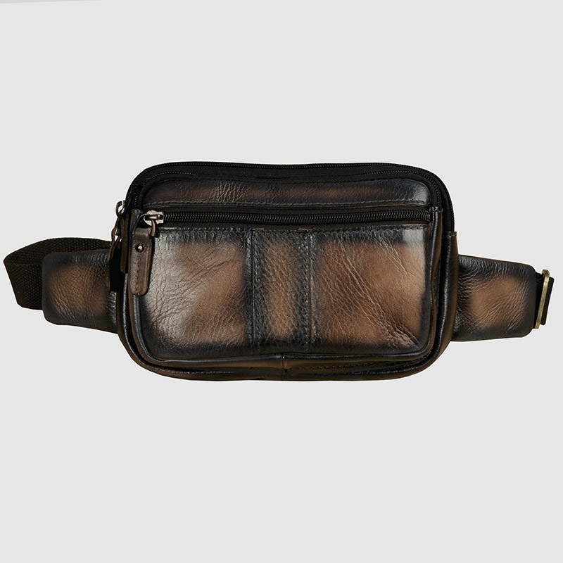 Quality Leather Men Casual Fashion Travel Crossbody Waist Belt Bag Chest Sling Bag Cowhide Design Phone Cigarette Case Pouch 342