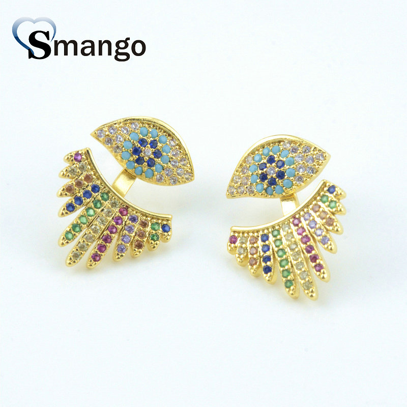 5Pairs,The Rainbow Series,The Eye Shape Women Fashion Earring Set.Gold Colors, Can Mix, Wholesale