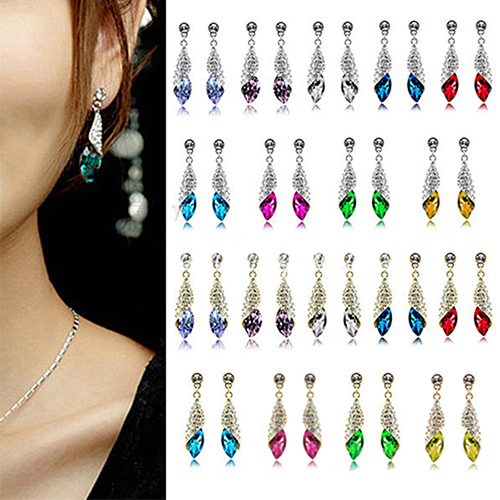 2013 New 1 Pair Fashion Shining Crystal Rhinestone Teardrop Silver Gold Dangle Drop Earrings for Women Female 018F