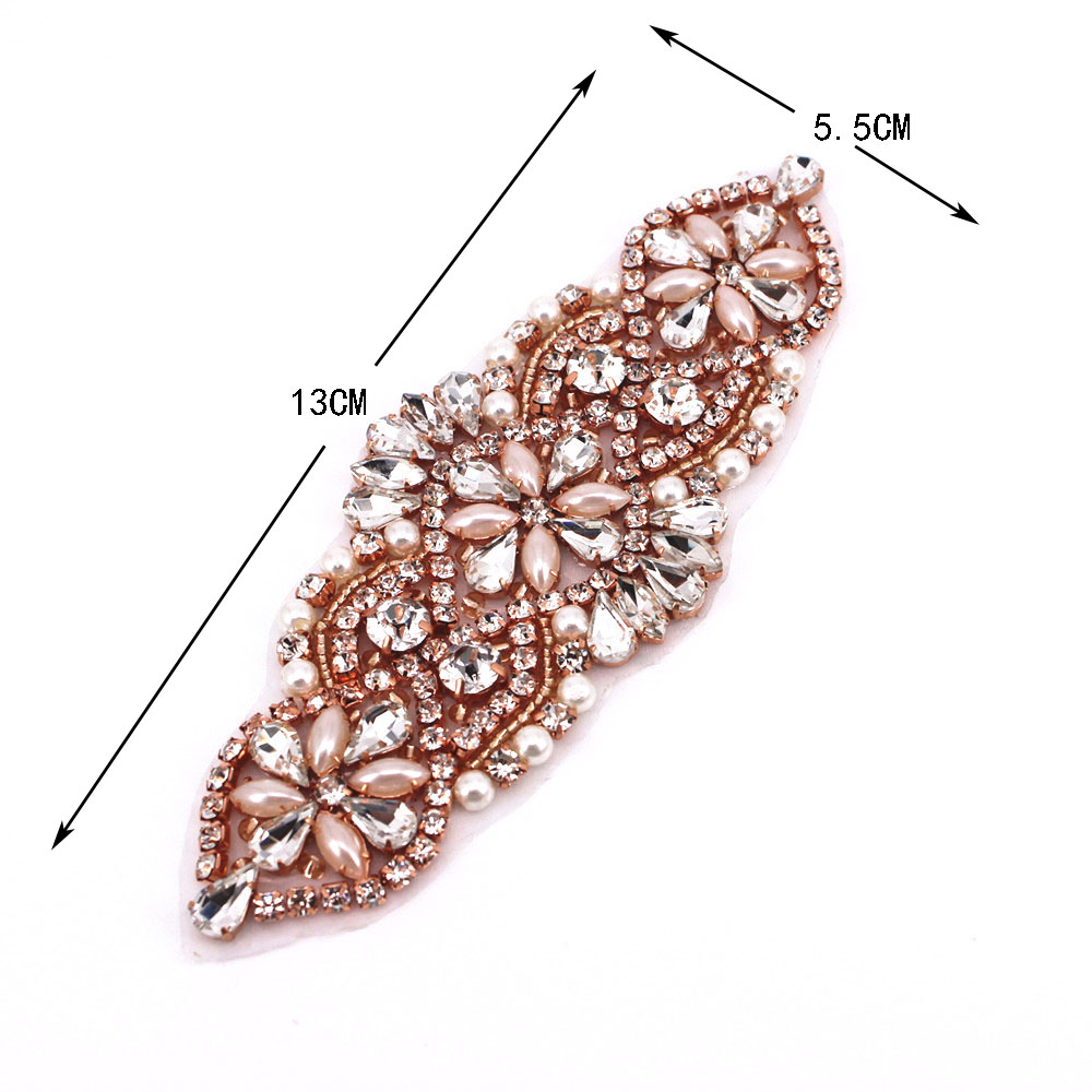 1 PCS Gold Wedding Rhinestone Appliques Crystal Beads Sew On Rhinestone Appliques Bridal Accessories For Wedding Belt