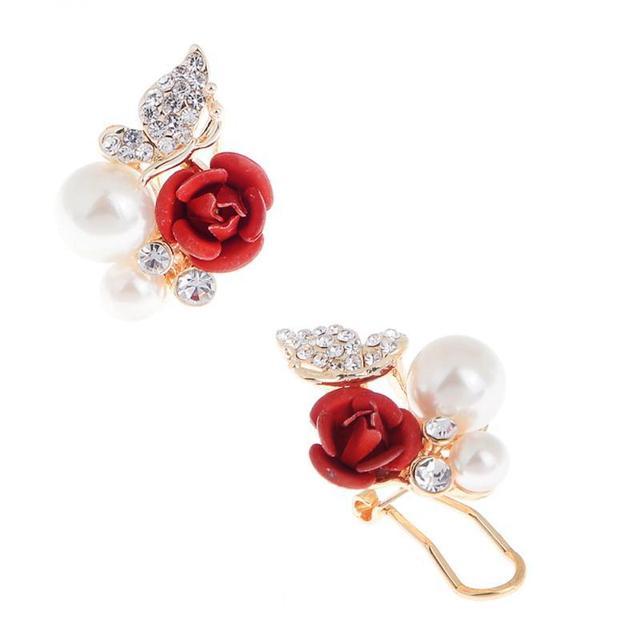 Rose Flower Crystal Rhinestone Pearl Stud Earrings eI2D01s