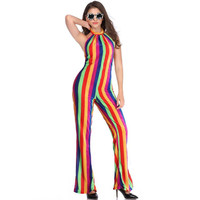 Women Fashion Sexy Rainbow Colorful Striped Jumpsuit and Rompers Erotic Backless Bodysuit Sleeveless Long Palazzo Pants Z1918