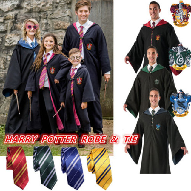 halloween costume harri potter costume gryffindor ravenclaw hufflepuff slytherin robe cape cloak withtie for adult child