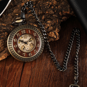 Image 4 - Vintage Wood Circle Carved Number Dial Mechanical Pocket Watch Men Unique Hollow Steampunk Bronze Mechanical Clock Watches Chain