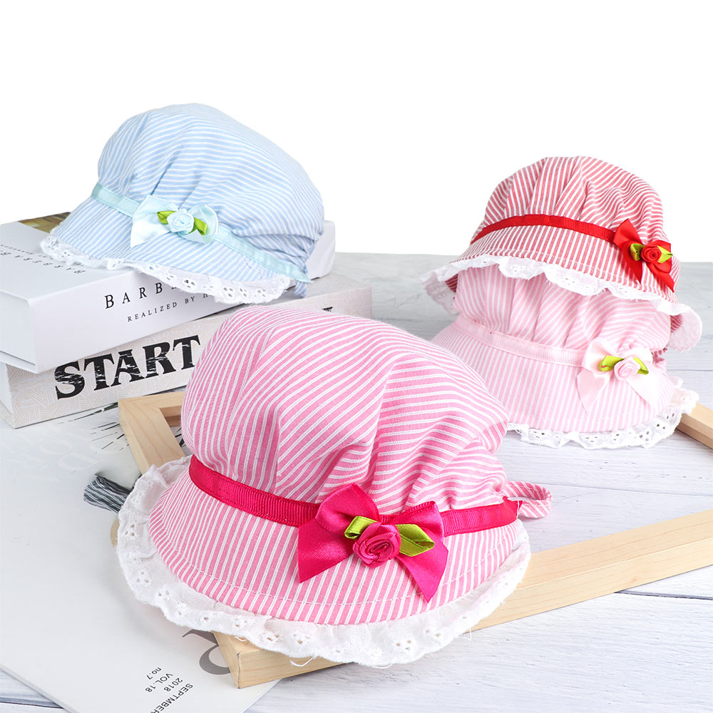 Cute Sweet Kids Floral Beanie Sunshade Princess Caps Pink Baby Girls Hat Lace