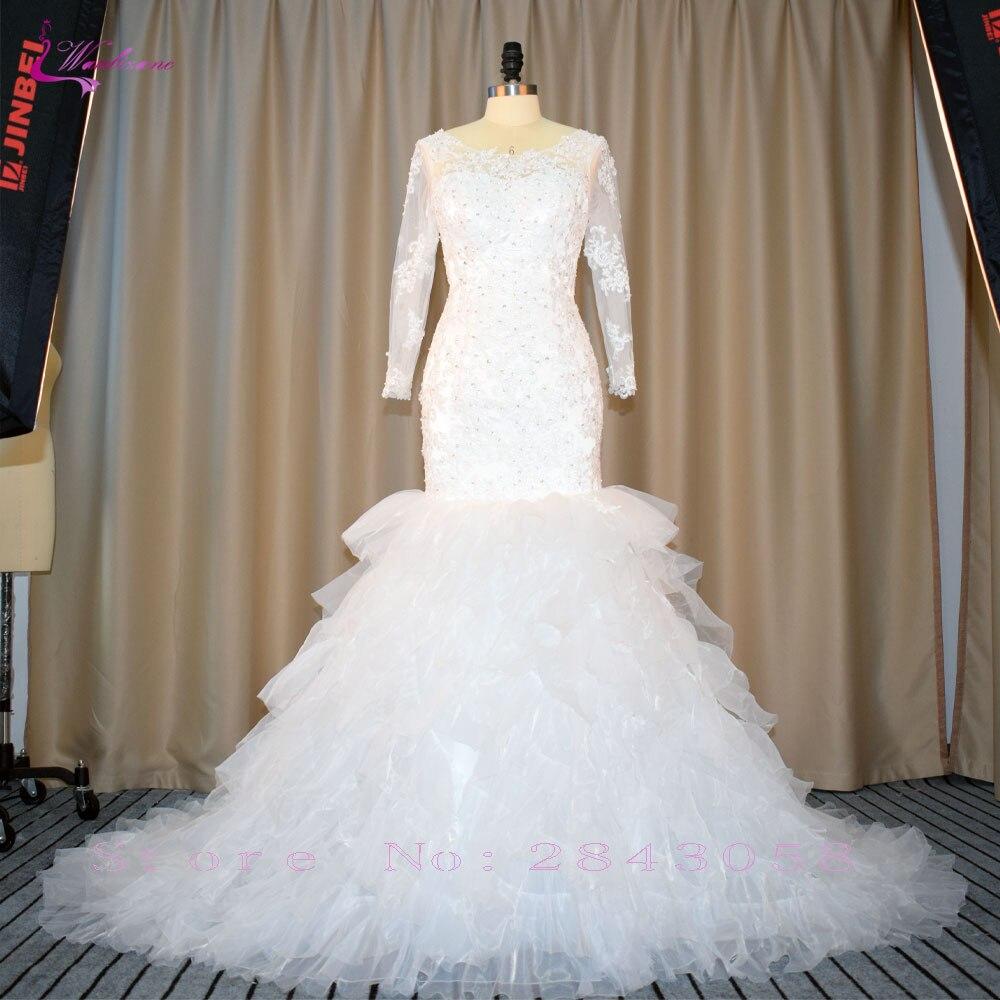 Waulizane Hoàng Train Mermaid Wedding Dresses 2018 Beading Pearls Appliques Cap Sleeve Bridal Gowns Appliques