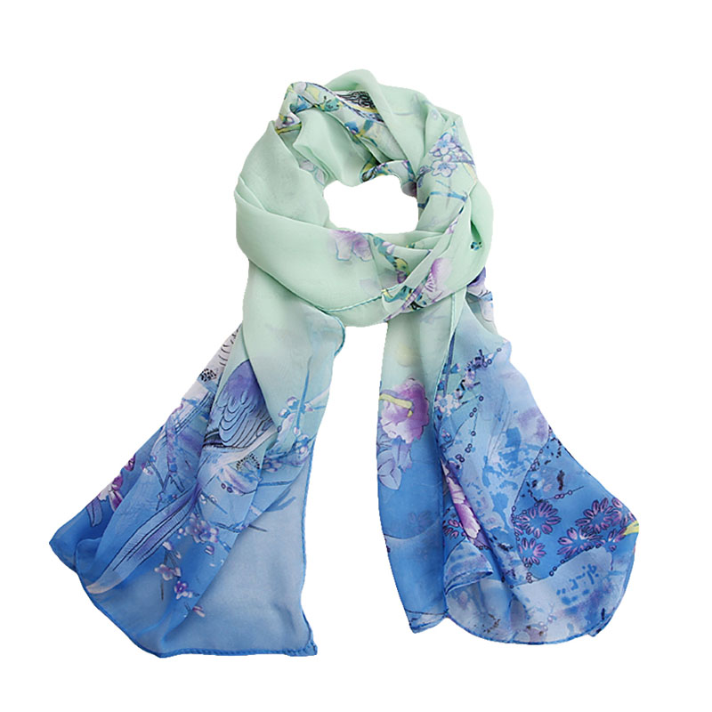 KLV Women Fashion Pretty Print Long Soft Chiffon   Scarf     Wrap   Shawl Stole   Scarves   Hot