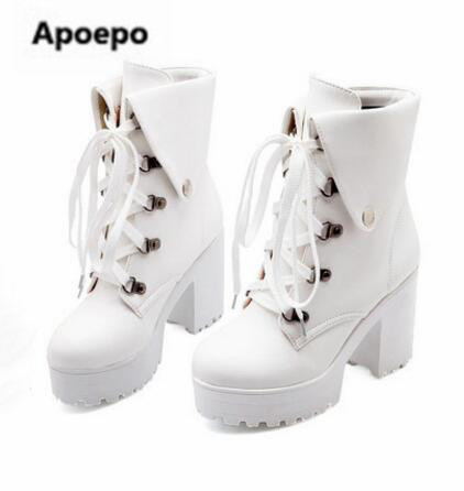 Apoepo brand ankle boots lace up riding boots black white shoes women platform high heels boots shoes for girls plus size 10.5 brand new hot sales women nude ankle boots red black buckle ladies riding spike shoes high heels emb08 plus big size 32 45 11