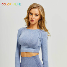 Colorvalue Seamless O-neck Gym Sport Long Sleeve Shirts Women Quick Dry Slim Fit Workout Fitness Crop Top with Thumb Holes. colorvalue hollow out sport shirts top women slim fit mesh yoga fitness top long sleeve high flexible solid gym workout jersey