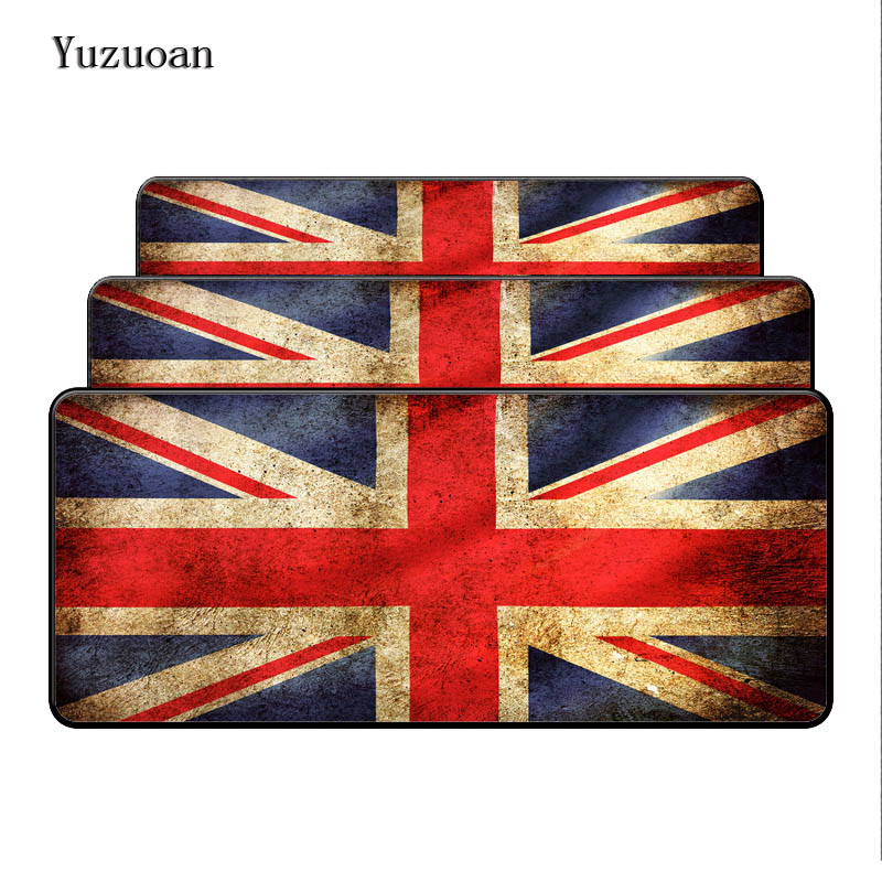 Yuzuoan 900*400*3mm Original Design Vintage British Flag Anti-Slip Mousepad Table Mat for PC Laptop Large Lock Edge Mouse pad