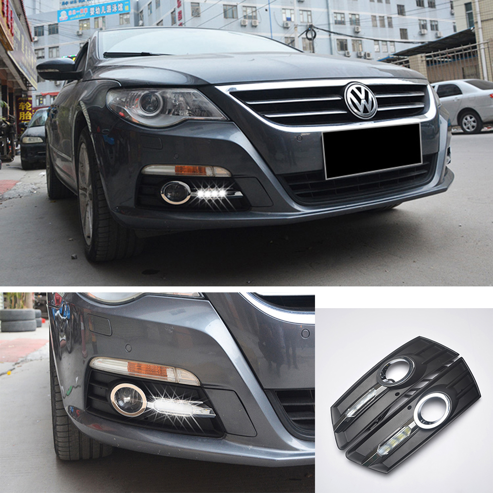 ECAHAYAKU 1 set waterproof LED Daytime Running Lights car styling For Volkswagen VW CC 2012-2014 DRL Fog Lamps driving light
