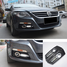 ECAHAYAKU 1 set waterproof LED Daytime Running Lights car styling For Volkswagen VW CC 2012-2014 DRL LED Fog Lamps driving light led front fog lights for ford fusion estate ju 2002 2008 car styling round bumper drl daytime running driving fog lamps