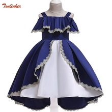 Summer Lace Children Clothing Princess Kids Dresses For Girls Causal Wear Ruffle Dress 2 8 Years Girls Dress Vestido Blue Red