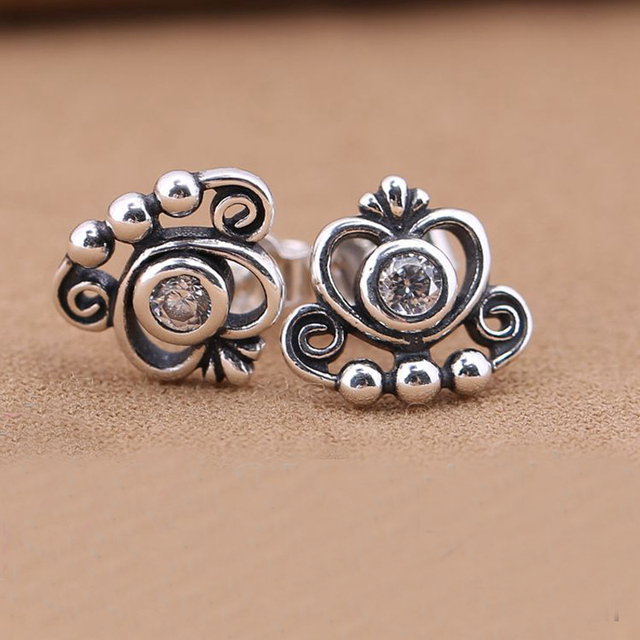 High Quality Crown Silver Stud Earrings with Cubic Zirconia 925 Sterling Silver Earrings For Women European Jewelry ES00005